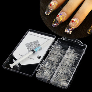 Wholesale nail styles for sale - Group buy 100pcs Aquarium Style Nail tips AQUA Nail Art Tips Clear Aquarium False Water tank Liquid Half Nail Tips With Syringe injector