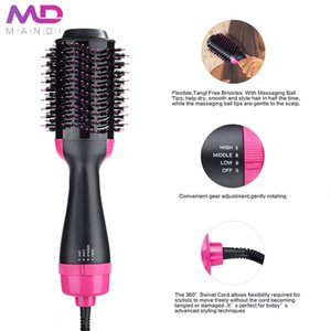 Wholesale curlers china resale online - Mandi Hair Dryer and Hair Brush with flat iron and curing iron function Hot Air Brush Straightener and curler Top Selling