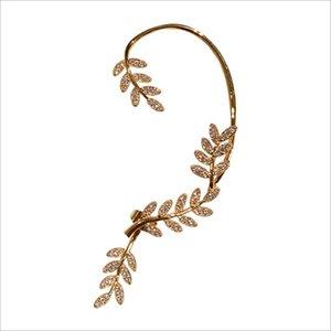 tree leaf earrings shining crystal diamond ear clip new fashion Korean style luxury design girls gift
