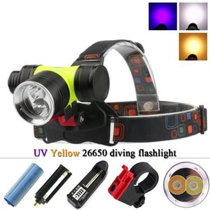 Wholesale headlamp dual resale online - Dual light source diving led head lamp xml t6 xm l2 underwater headlamp fishing waterproof head torch led headlight