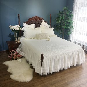 Wholesale cotton lace bedspreads resale online - 3Pcs150X200cm X200cm Cream White Beige Lace Princess Bed skirt set Quilted Cotton Bedspread Pillowcase Queen King size