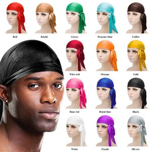 Fashion Men Women Silky Pirate Hat Satin Durag Bandana Turban Wigs Solid Color Headwear Headband Pigtail Hip Hop Cap Beanie