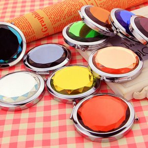 Wholesale folding pocket makeup mirror resale online - KuZHEN New Metal Pocket Mirror Makeup Fold Round Crystal Compact Mirror Portable Cute Personalized Wedding Gifts