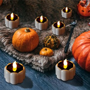 Wholesale pumpkin decorations resale online - DHL Shipping Pumpkin Lamp Candles Electronic Flameless Candle Home Bar Dining LED Halloween Candle Decoration Flashing Light DHE1408