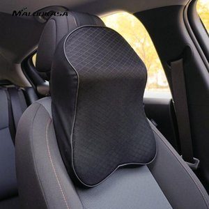 Wholesale headrest leather resale online - Car Seat Head Neck Leather D Memory Foam Car Pillow Auto Headrest Pillow Travel Neck Cushion Support Holder Seat