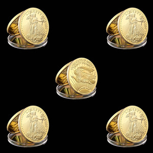 Wholesale freedom gifts resale online - 5pcs In God Trust Freedom Real Gold Plated Liberty Craft Souvenir Coin mm In Diameter American