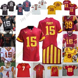 штат айова  оптовых-Пользовательские IOWA State Cyclones Isu Football Jersey NCAA College Brock Purdy Breece Hall Jones Vance Milton Charlie Kolar Pettay Rose Lang