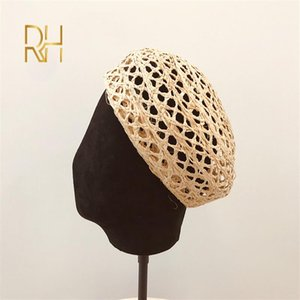 Wholesale trendy berets for sale - Group buy New Trendy Summer Women Beret Crochet Raffia Sun Hat Adjustable Girl Straw Beret Sun Beach Cap Ladies French Style