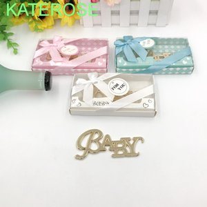 Wholesale giveaways box resale online - 20PCS New Baby Baptism Gift Gold Baby Bottle Opener In Gift Box Newborn Christening Party Giveaways For Guest