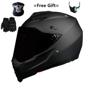 casco s al por mayor-Mate Black Dual Sport Off Road Motorcycle Helmet Dirt Bike ATV D O T Certificado M Blue Casco Full For Moto Sport