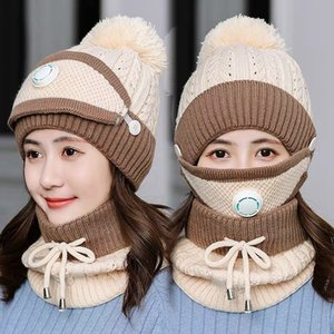 Wholesale valves ball resale online - Winter Warm Masks Hat Scarf Set Thick Plus Cashmere Knit Caps Wool Ball Cover Ear Collar Hats with Breathing Valve Masks GGA3729