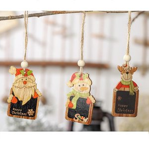 Wholesale colored ornaments resale online - 6pcs Christmas Mini Blackboard Pendant Hanging Chalkboard Christmas Decorations Colored Wood Tag Ornaments Xmas Message Board