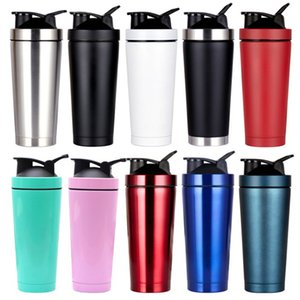Wholesale shake bottles resale online - Outdoor Sport Shake Bottle ml ml Vacuum Flask Double Wall Insulated Sport Protein Metal Shake Thermos