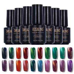 uv geldeckschicht marken großhandel-Rosalind Marke ML Cat Eyes Finish Gel Polish Soak off UV LED Nagelgelpoliermittel Spiegel Quick Dry Top Coat Nagel TSLM1