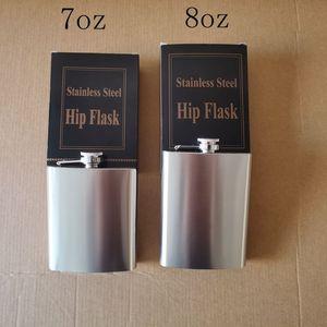 Customized 7oz & 8oz stainless steel hip flask outdoor portable whiskey flagon men gift pocket hip flask KC07081