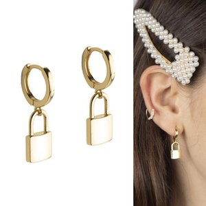 Wholesale dangling ear rings for sale - Group buy 2020 christmas New Gold Color Lock Dangle Earrings for Women Geometric Statement Ear Rings Fashion Jewelry
