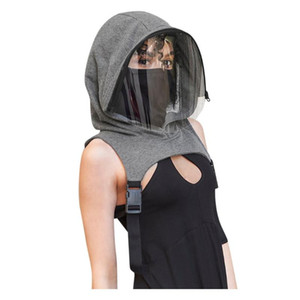 Full Protective Face Wear Clear Hooded Hat Adults Face Shield Reusable Removable Men Women's Outdoor Motorcycle Mask masque