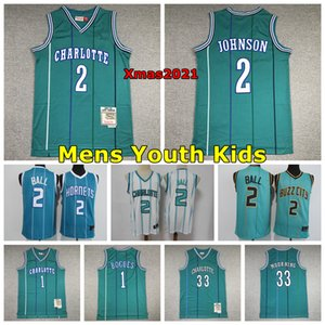 jersey larry johnson venda por atacado-2021 Charlottes Mens Juventude Kids Lamelo Ball Basketball Jersey Muggsy Bogues Larry Johnson Curry Mitning Mitchell Ness Jersey