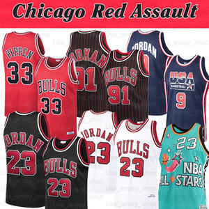 jerseys amarillos negros al por mayor-NCAA MICHAEL JERSEY Dennis Pippen Scottie Rodman Chicago Red Assault Basketback Jerseys