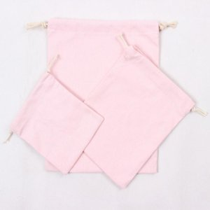 Wholesale cotton canvas laundry bag for sale - Group buy Pink Canvas Drawstring Bags Cotton Storage Bags Laundry Favor Holder Fashion Jewelry Pouches Gift Bags EWD2930