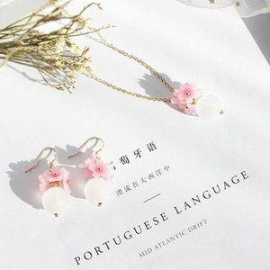 Wholesale cherry blossom earrings for sale - Group buy SANSUMMER New Style Fashionable Plastic Romantic Sweet Pink Cherry Blossom Necklace Earrings Temperament Jewelry Sets