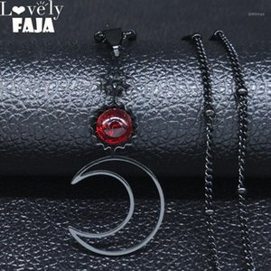 Wholesale stainless steel star pendants resale online - 2020 Fashion Gothic Star Moon Stainless Steel Necklace for Women Red Black Color Necklaces Pendants Jewelry joyas N1123S031