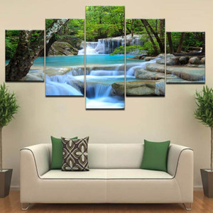 Wholesale waterfall canvas art for sale - Group buy HD Prints Canvas Posters Home Decor Pieces Natural Waterfall Paintings Wall Art Scenery Pictures Modular Living Room Framework