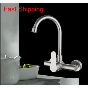 Wholesale double faucet kitchen tap resale online - Kitchen Faucet Stainless Steel Bathroom Basin Sink Tap Wall Mounted Degree Swivel Double Hole Hot Cold qylcSJ dh_seller2010