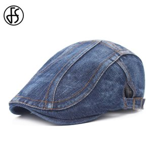 Wholesale trendy berets resale online - FS New Trendy Denim Flat Caps Summer Berets Cap For Women Men Adjustable Blue Navy Ivy Newsboy Beret Homme