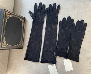 Wholesale gloves drive for sale - Group buy Black Tulle Gloves For Women Designer Ladies Letters Print Embroidered Lace Driving Mittens for Women Ins Fashion Thin Party Gloves Size