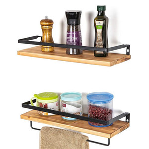 Wholesale floating wood shelf resale online - Floating Shelves Wall Mounted Storage Shelf Rustic Wood Decorative Rack for Kitchen Living Room Bedroom Bathroom Accessories