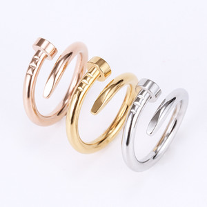 Wholesale nail rose gold for sale - Group buy Nail ring Titanium Steel Gold ring black silver Rose Gold Love brand ring for women wedding Jewelry Wholesales China free FedEX with logo