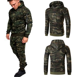 Wholesale mens army camouflage clothing resale online - Casual Joggers Mens Tracksuits Pieces Sets Autumn Hooded Pants Camouflage Suit Gym Zipper Sportswear Sweat Suits Men s Clothes