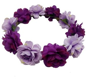 ingrosso corona di nozze sulla spiaggia-Cerchio dei capelli Fiori artificiali Ascolta Handband Wedding Bride Flower Crown Bohemia Emalation Beach Flower Donne Aestheticism Hair Hoop HWC107