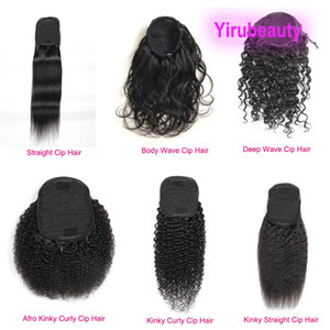 Brazilian 100% Human Hair Ponytails Afro Kinky Curly 8-20inch Straight Body Wave Virgin Hair Nautral Color Pony Tails Deep Wave Kinky Curly
