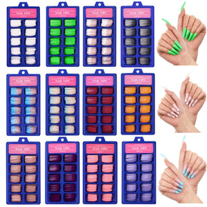 Wholesale long french nails resale online - 100Pcs box French Fake Nails Full Cover False Nail Art Tips Candy Color Ballerina Long Coffin Flame False Nails Manicure