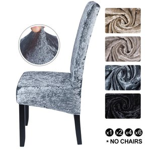 Wholesale dining rooms chairs for sale - Group buy Shiny Velvet XL Size Spandex Chair Cover Stretch Slipcovers Elastic Seat Chair Covers Dining Room Cover With Back
