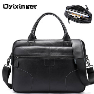 Wholesale a4 folder zipper for sale - Group buy HBP Men s Laptop Briefcases For Men Genuine Leather Briefcase Male Tote Business Bag A4 Folder Messenger Bags Sac Homme Q0112