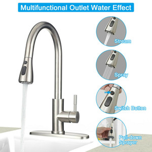 Wholesale kitchen faucets resale online - Kitchen Faucet Stainless Steel Sink Faucet Single Hole Brushed Pull Out Sprayer