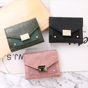 Wholesale buckles credit card resale online - HBP Short Wallet Female New Fashion Buckle Small Crocodile Women Designers Coin Purse Card Bag Europe and America Style
