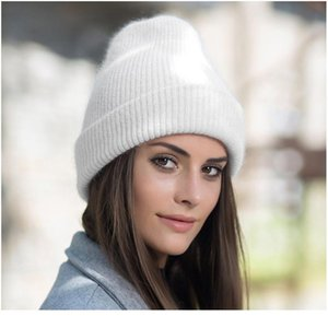 Wholesale c c beanie for sale - Group buy Women Knitted Winter Hat Female Warm Rabbit Fur Beanie Girls Solid Bonnet Woman Skullies Beanies Soft Winter C qylDcF