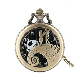 Wholesale movie watches for sale - Group buy The Nightmare Before Christmas Jack Skellington Tim Burton Movie Theme Watches Fashion Quartz Pocket Watch Vintage Necklace Gift1
