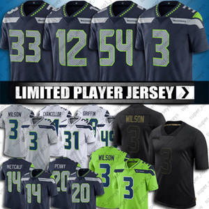 jersey de canciller al por mayor-16 Tyler Lockett DK Metcalf Jersey Russell Wilson Jamal Adams Jerseys Bobby Wagner Kam Canciller Jerseys Seattles Football