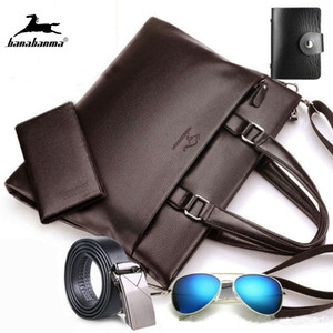 Wholesale belt purse for men resale online - Men s Leather Briefcase Totes for Documents Men Shoulder Bag Male Business inch computer With Purse and Belt Q0112