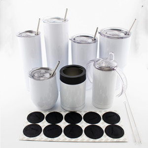 Wholesale stainless steel m resale online - 12oz oz oz Skinny Tumblers blank Sublimation travel mug Stainless Steel Double Wall Vacuum With seal lid and straw M