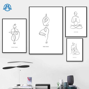 Wholesale body art abstract resale online - Minimalism Lady Body Line Drawing Art Canvas Painting Yoga Women Abstract Posters and Prints Modern Home Wall Art Decoration