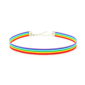 Wholesale rainbow choker necklace for sale - Group buy Gay Pride Rainbow Choker Necklace LGBT Gay and Lesbian Pride Lace Chockers Ribbon Collar with Pendant Statement Jewelry for Men Women N2