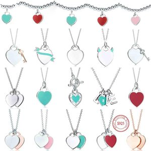 Wholesale silver necklaces resale online - tiff necklace silver pendant necklaces female jewelry exquisite craftsmanship with official logo classic blue heart