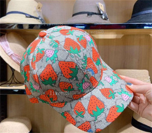Wholesale strawberry hat resale online - High quality Hot classic Letter print baseball cap Women Famous Cotton Adjustable Skull Sport Golf Curved strawberry Bucket hat