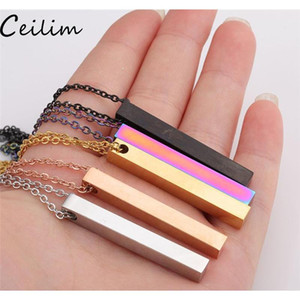 Wholesale stainless steel bar necklace for sale - Group buy Polished Stainless Steel Bar Pendant Necklace New Fashion Colors Rainbow Black Gold Solid Blank Bar Charm Pendant For Buyer Own Qlfzg